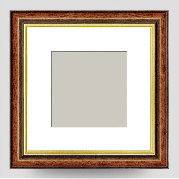6x6 Brown & Gold Picture Frame Including a 4x4 Mount