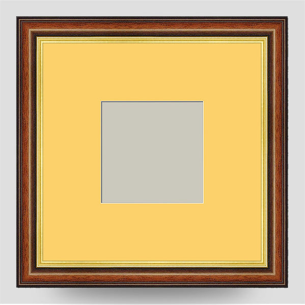 10x10 Brown & Gold Picture Frame Including a 6x6 Mount