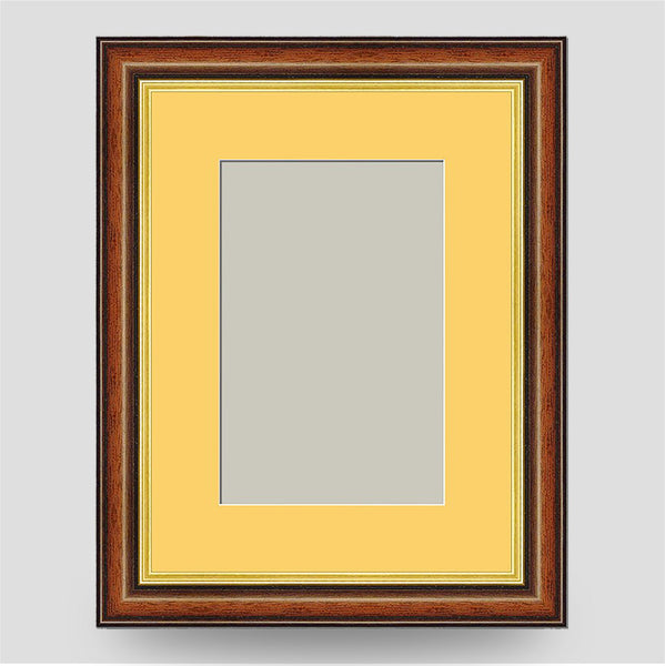 8x6 Brown & Gold Picture Frame Including a 6x4 Mount
