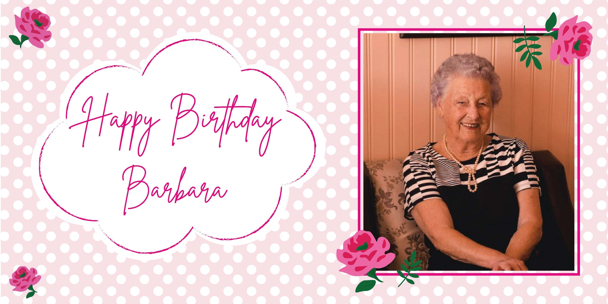 Personalised Floral Polka Dot Birthday Banner