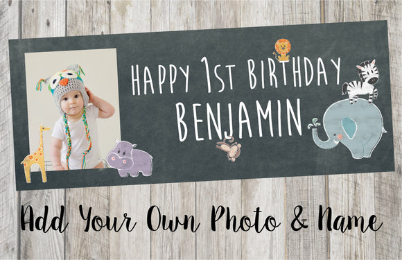 Personalised Zoo Animal Birthday Banner