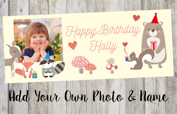 Personalised Forest Animal Birthday Banner
