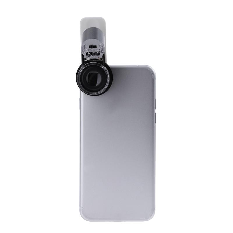 65X Magnification Clip-On Phone Microscope with LED / UV Lights