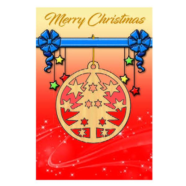 Christmas Card with Wooden Tree Ornament