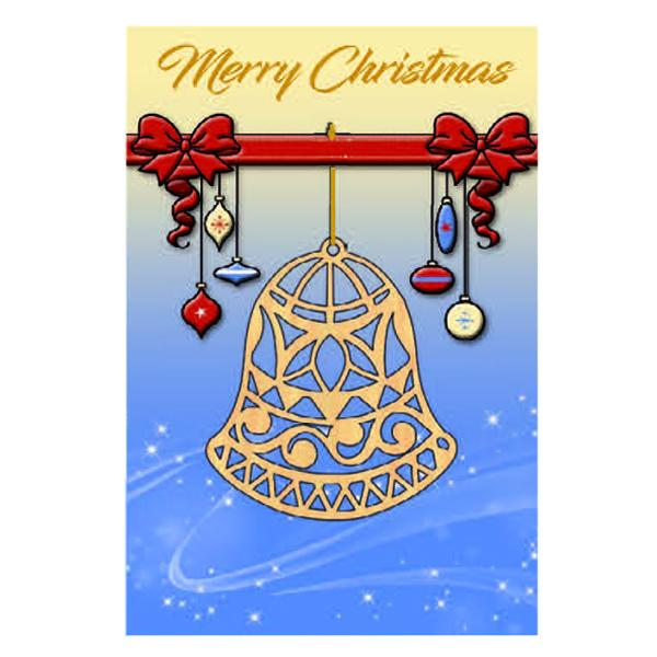 Christmas Card with Wooden Bell Ornament