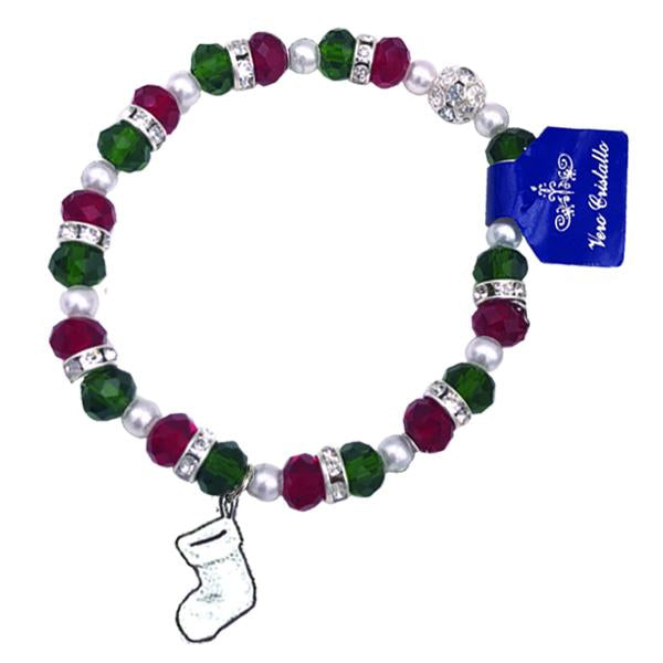 Christmas Colored Bracelet with Stocking Charm