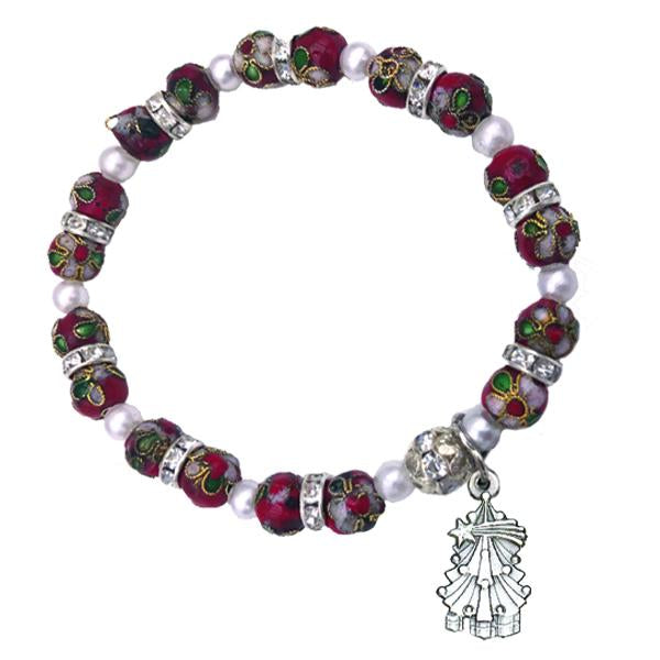 Red Cloisonné Bracelet with Christmas Tree Charm