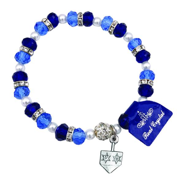 Shades of Blue Bracelet with Dreidel Charm