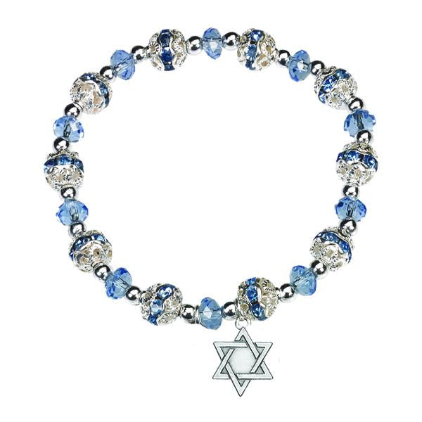 Light Blue Crystal Bracelet with Star of David Charm