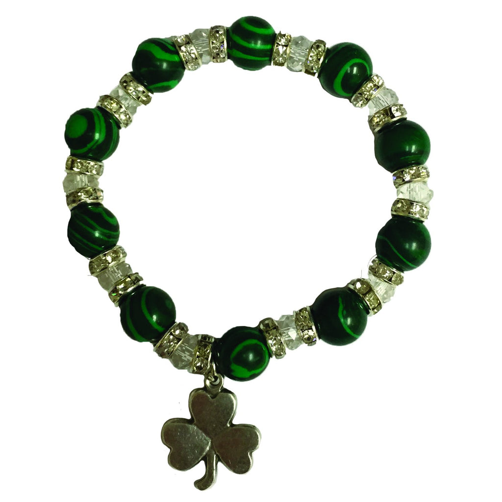 Shamrock Bracelet with Green and Clear Beads