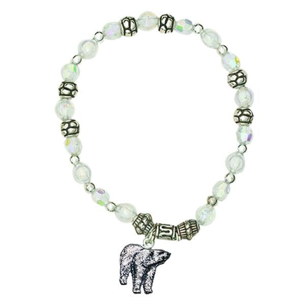 White Bracelet with Polar Bear Charm