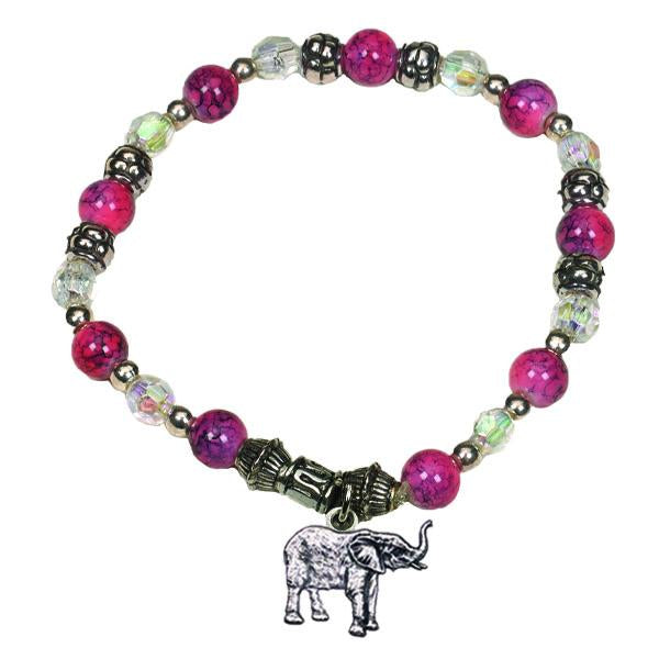 Bright Pink/Rose Bracelet with Elephant Charm