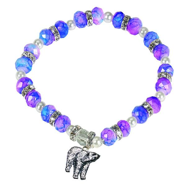Cotton Candy Colored Bracelet with Polar Bear Charm