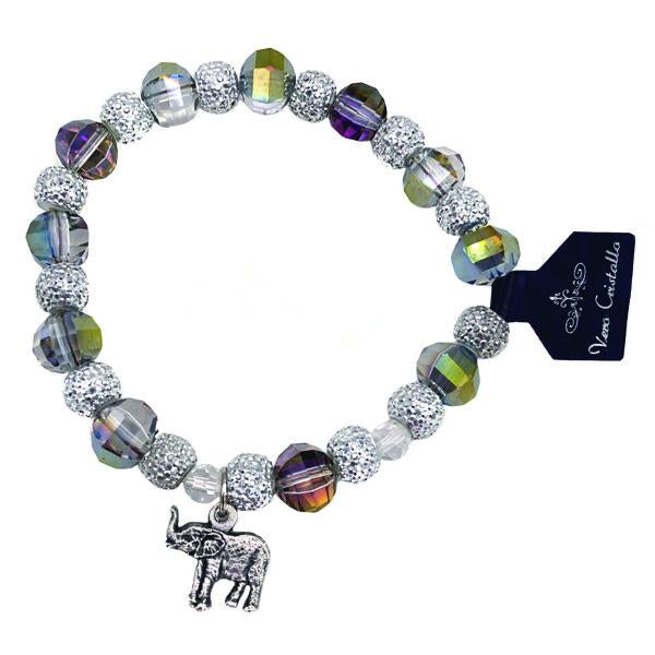 Multi-color Sparkle Bracelet with Elephant Charm