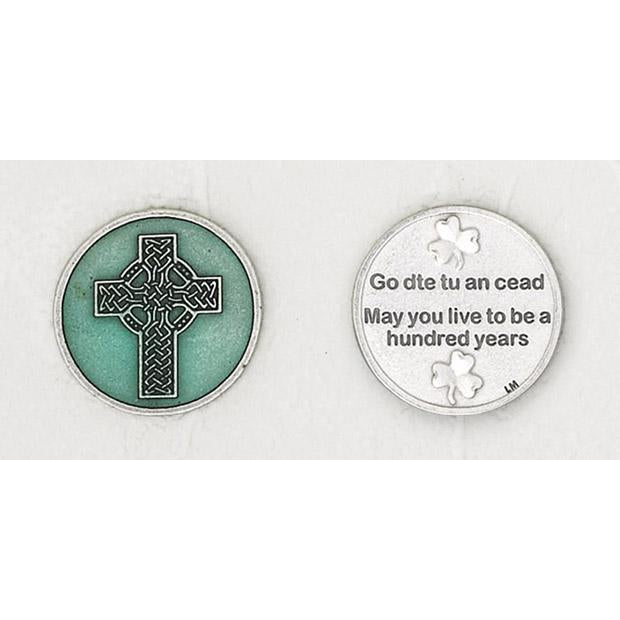 Celtic Cross Green Enameled