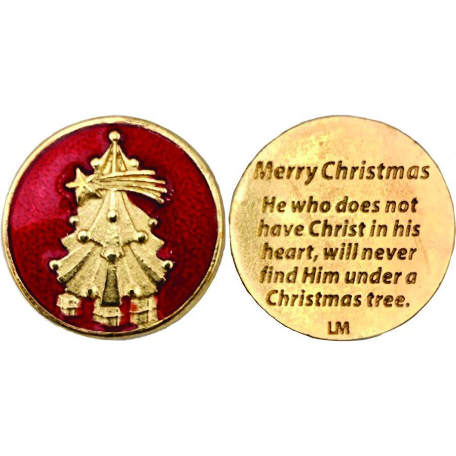 Enameled Christmas Tree Gold Tone Token