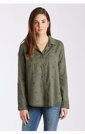 Dear John Shirt - Reese Long Sleeve Embroidered Star - Olive Green