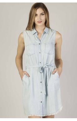 Dear John Jillian Stripe Sleeveless Shirt Dress - Light Blue