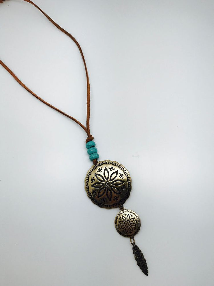 Turquoise Haven Necklace - Round Stamped Drop - Bronze