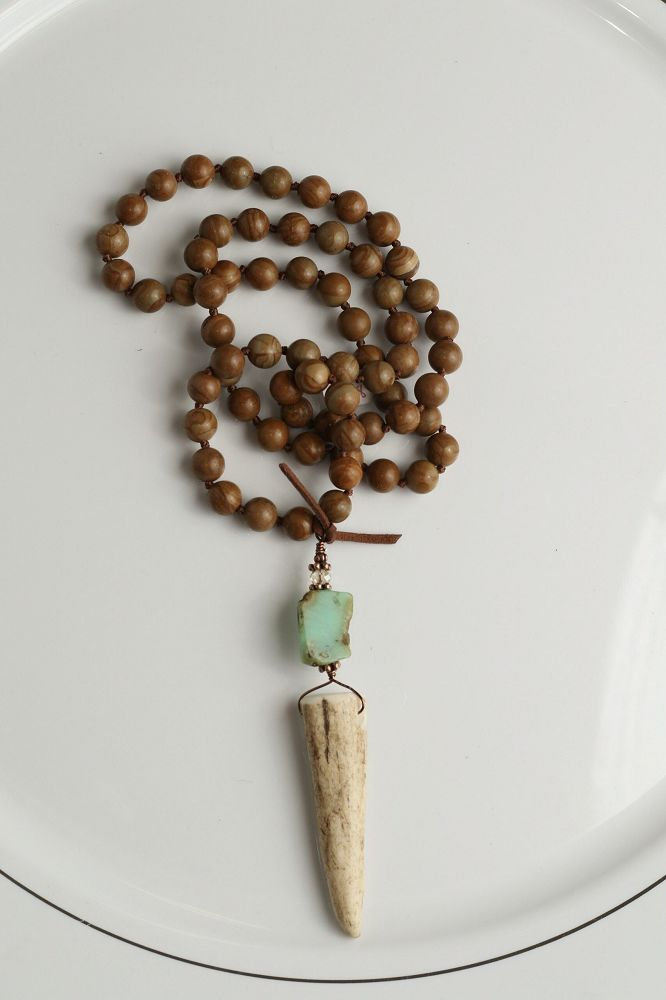 Turquoise Haven Necklace - Threaded Beads - Wood Jasper & Antler