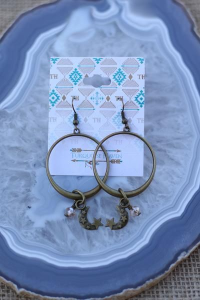 Turquoise Haven Earrings - Moon Hoops - Bronze