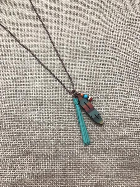 Turquoise Haven Necklace - Serape Feather w/ Tassel - Serape / Turquoise