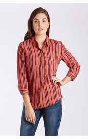 Dear John Shirt - Emily 3/4 Sleeve Overdyed Stripe - Red