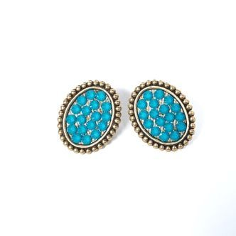 Pink Panache Earring - Bronze Mini Oval - Candy Blue