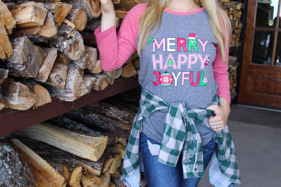 ATX Mafia Shirt - Merry, Happy, Joyful 3/4 Sleeve - Grey