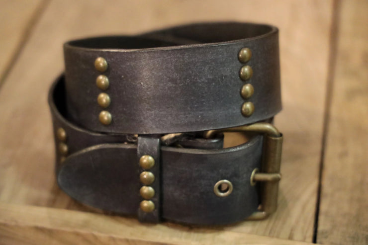 Juan Antonio Belt - Distressed Leather w/ Gold Studs - Black