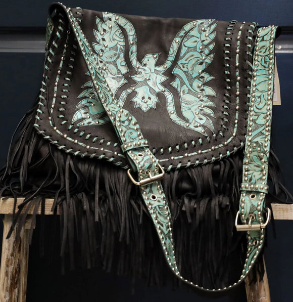 Juan Antonio Cross Body - Nubuck w/ Eagle Design - Rosal Turquoise