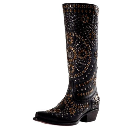 Johnny Ringo Black Stud Boots