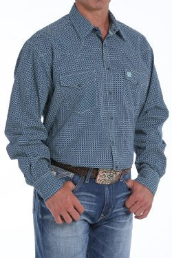 Cinch Men's Long Sleeve Western Shirt - Turquoise