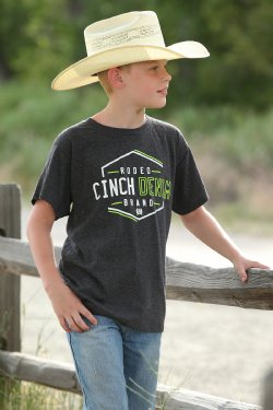 Cinch Boy's Short Sleeve T-Shirt - Charcoal