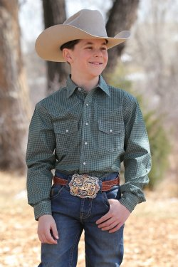 Cinch Boy's Long Sleeve Shirt - Green