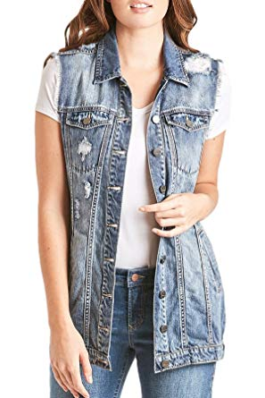 Dear John Vest - Mia Distressed Sleveless - Denim