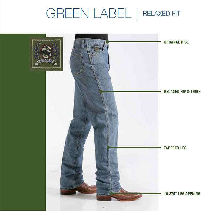 Cinch Men's Jeans - Green Label - Medium Stone Wash