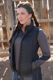 Womens Cinch Quilted Vest - Black