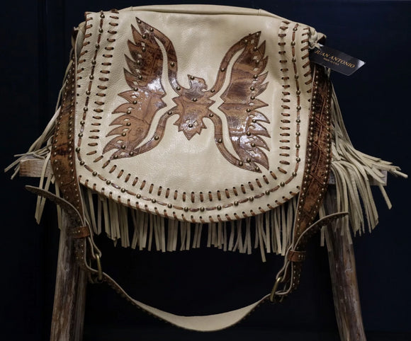 Juan Antonio Cross Body / Purse - Nubuck w/ Eagle Design - Cream / Leather