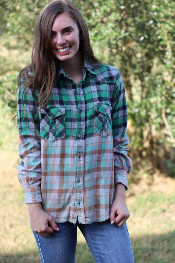 ReLove Shirt - Cross Back Flannel Long Sleeve - Green / Light Pink