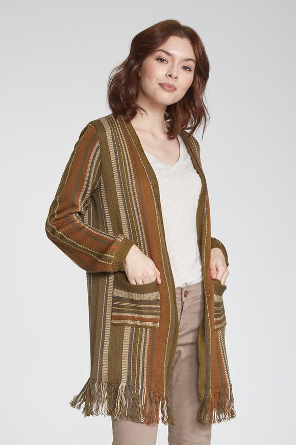 Another Love - Phoenix Open Front Fringe Hem Sweater - Safari