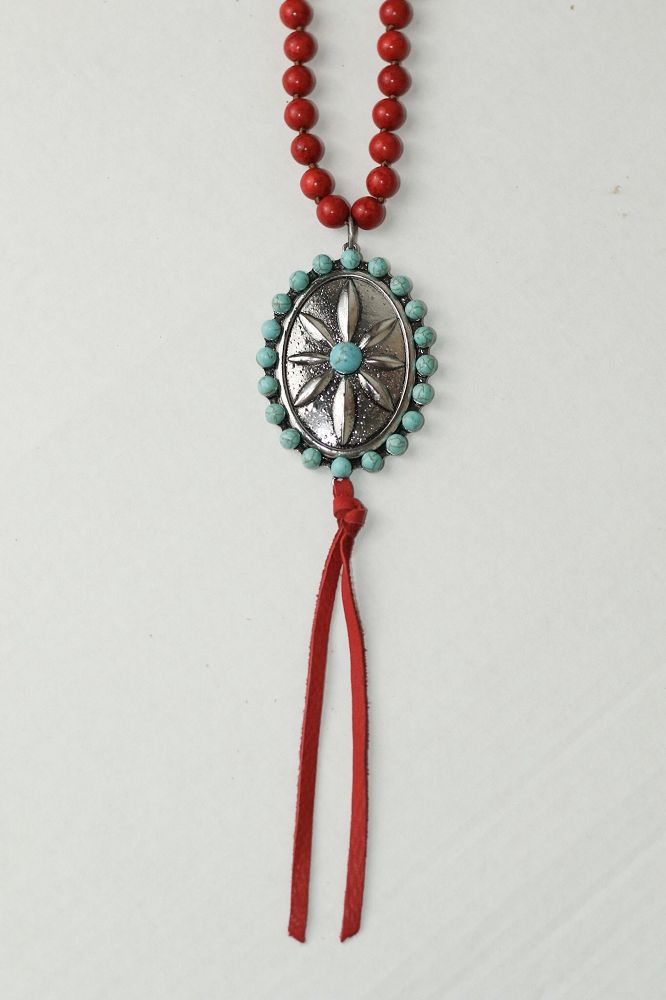 Turquoise Haven Necklace - Silver Pendant w/ Beaded Chain - Turquoise / Red