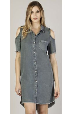 Dear John Dress - Kade Short Sleeve Off Shoulder - Charcoal