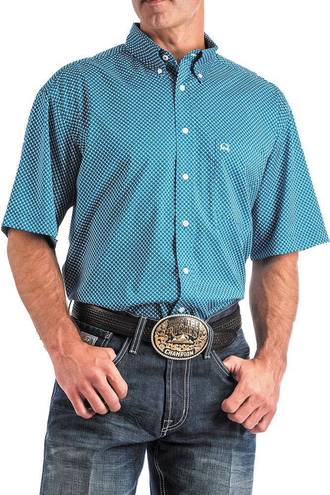 Cinch Men's Short Sleeve ArenaFlex Shirt - Blue