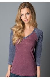 Another Love Shirt - Daniela 3/4 Sleeve - Bourdeaux / Navy