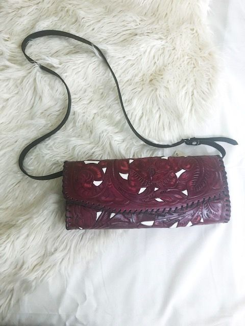 Juan Antonio Clutch - Tooled Maroon w/ Ivory Inlay