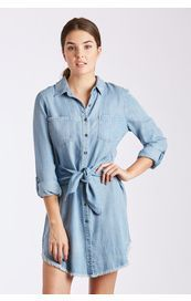 Dear John Mira 3/4 Sleeve Shirt Dress - Denim
