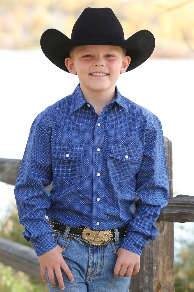Cinch Boy's Long Sleeve Shirt - Blue