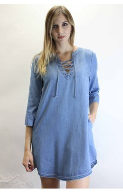 Dear John Dress - Noel Lace Up 3/4 Sleeve - Denim