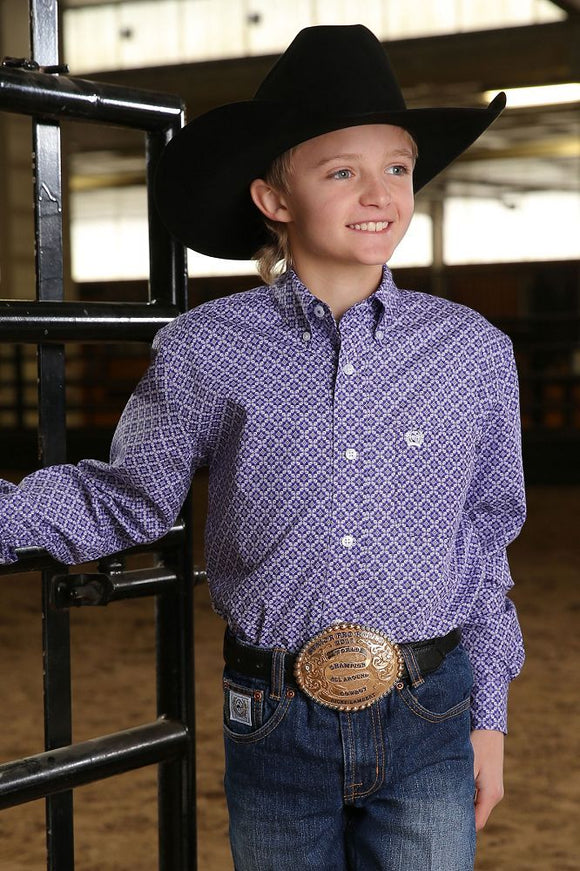 Cinch Boy's Long Sleeve Shirt - Purple
